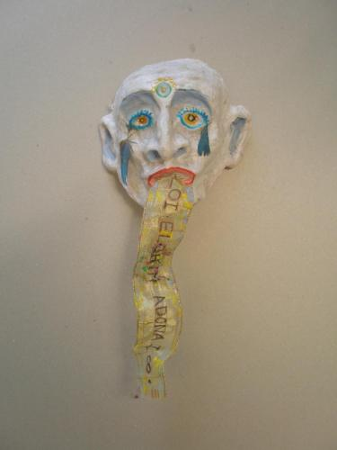 "Francesca Borgatta Masks: ""River of Words"", 15″×8″×4″"