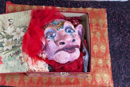 "Francesca Borgatta Masks: ""Pandora's Box"" (installation), 16″×18″×8″"