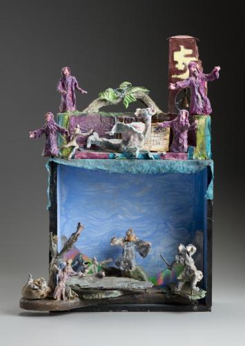 """Francesca Borgatta Dioramas: """"Medieval Lay"""", 28″×30″×10″"""