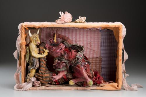 "Francesca Borgatta Dioramas: ""In the Minotaur's Lair"", 20″×32″×10″"