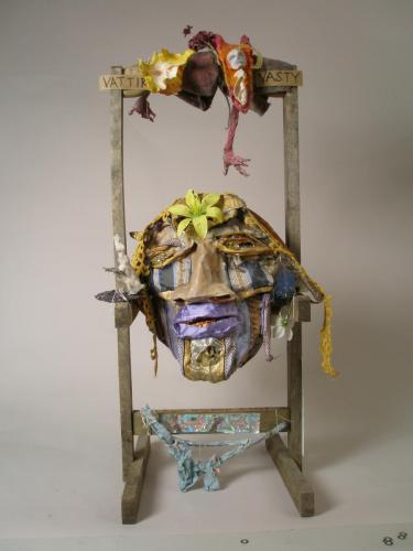 "Francesca Borgatta Masks: ""Vattir Vasty"" (mask and altar), 28″×16″×10″"