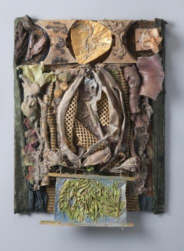 "Francesca Borgatta Reliefs: ""Wood Tablet"", 40″×38″×5″"