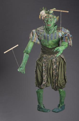"Francesca Borgatta Articulated Puppets: ""Green Gnome"", 52″×36″×10″"