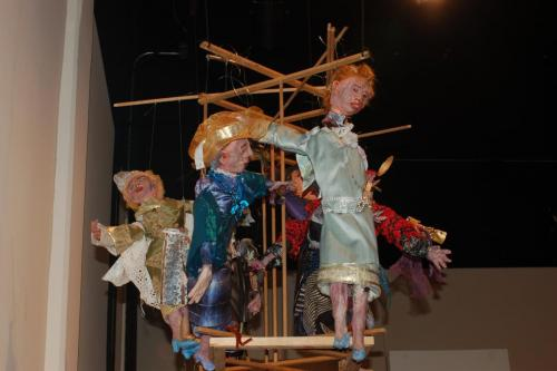 "Francesca Borgatta Articulated Puppets: ""Family Games"" (interactive installation), 36″×46″×40″"