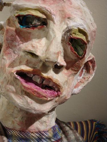 "Francesca Borgatta Masks: ""Greeter"" (head), 16″×14″×12″"