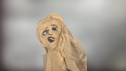 "Francesca Borgatta Masks: ""Single Spook"" (cloth mask from video), 18″×15″×20″"